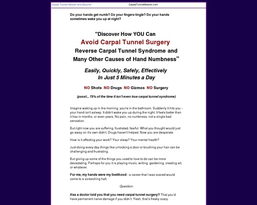 Carpal Tunnel Remedy - Carpal Tunnel Master, Self-Help Remedy for