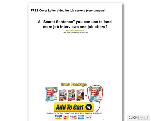 FREE Cover Letter Video for the serious job seeker...