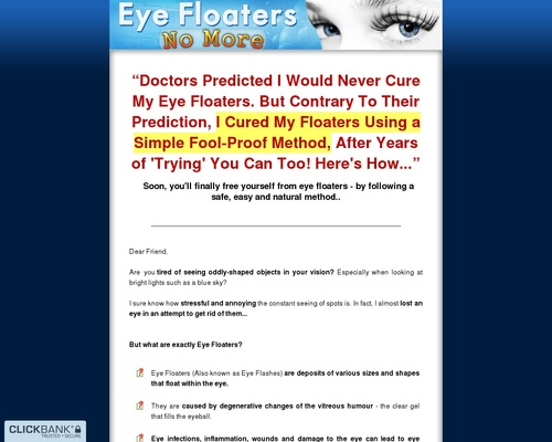 Eye Floaters No More - Get Rid of Eye Floaters Easily, Naturally and