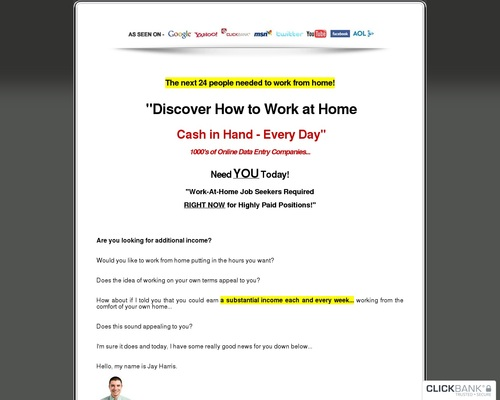 Home Jobs Directory - Over 2,500 Online Date Entry Jobs