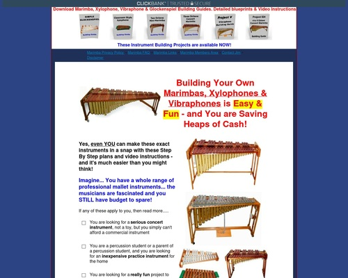 Download Plans to Make or build a marimba, vibraphone, xylophone,