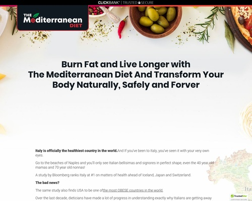 Mediterranean Diet - The Official Diet Plan & Custom Quiz Lander