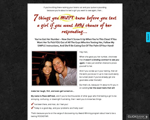 Text That Girl - Ultimate Men's Texting Guide 75% Comm + Upsells