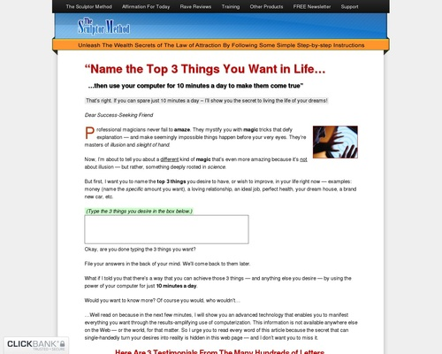 The Sculptor Method (official site) Affirmations goal setting