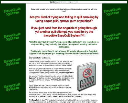 EasyQuit SystemTM - stop smoking program; learn how to quit smoking