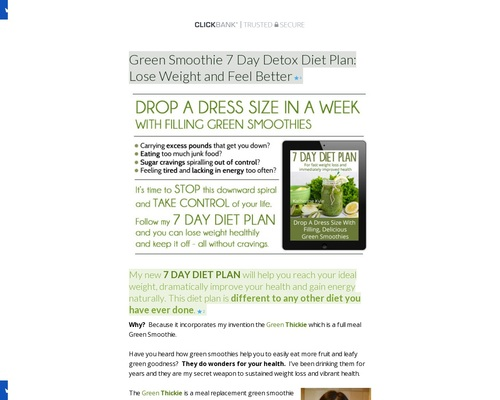 Green Smoothie 7 Day Detox Diet Plan: Lose Weight and Feel Better -