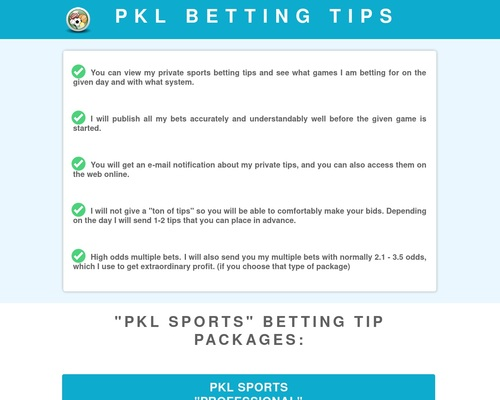 PKL Sports - Bet like a pro, who makes a living from it!
