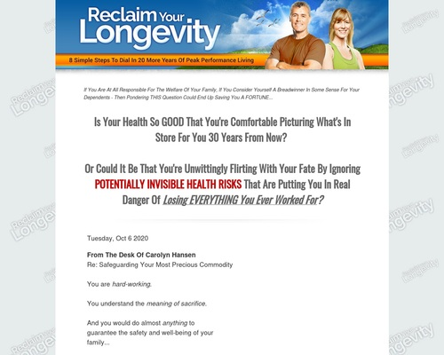 Reclaim Your Longevity: 8 Simple Steps To Dial In 20 More Years Of