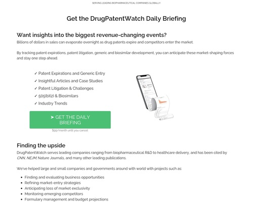DrugPatentWatch Daily Briefing: Get Daily Updates on Generic Entry,