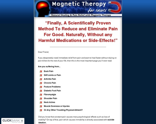 Magnetic Therapy For Idiots - Natural Healing And Pain Relief With