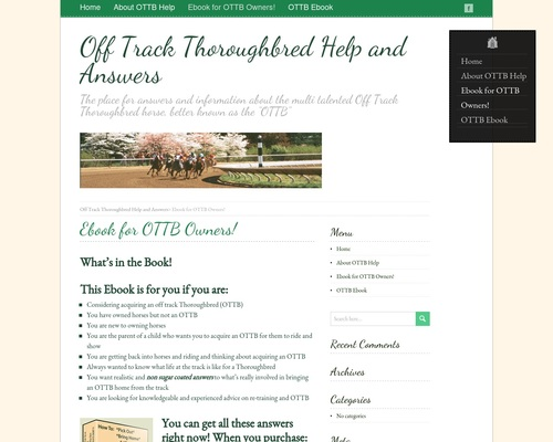 Ebook for OTTB Owners! – Off Track Thoroughbred Help and
