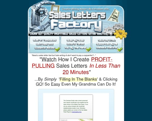Can't Write?! Watch This Video NOW To See Sales Letters Factory In
