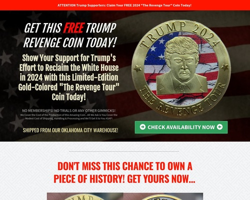Trump 2024 Gold Coin - Get it FREE Today!